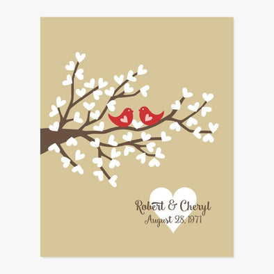 Love Birds Personalized Art Print (Golden)