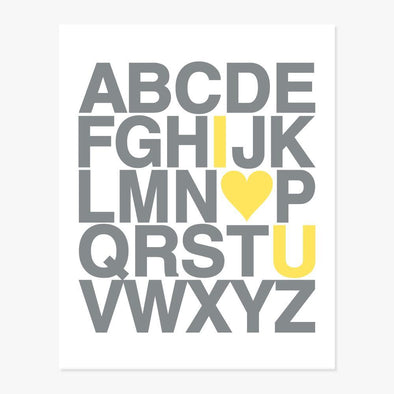 I Love You Alphabet Art Print (Gray & Yellow) Art Print by ColorBee Creative
