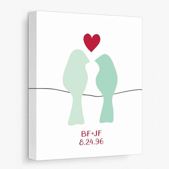 Love Birds on a Wire (Green) Personalized Canvas Gallery Wrapped Canvas by ColorBee Creative