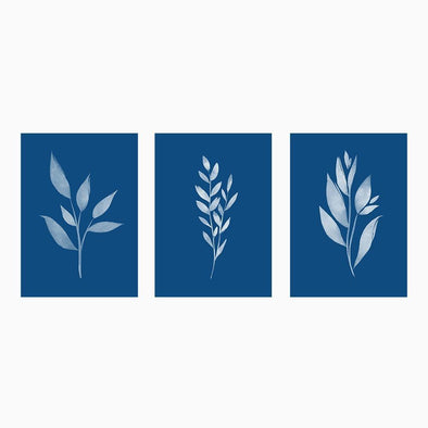 Art Print: White Leaf Classic Blue Set of 3 Prints Art Print by Color And Flair Color And Flair