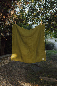Olive Layered Gauze Blanket