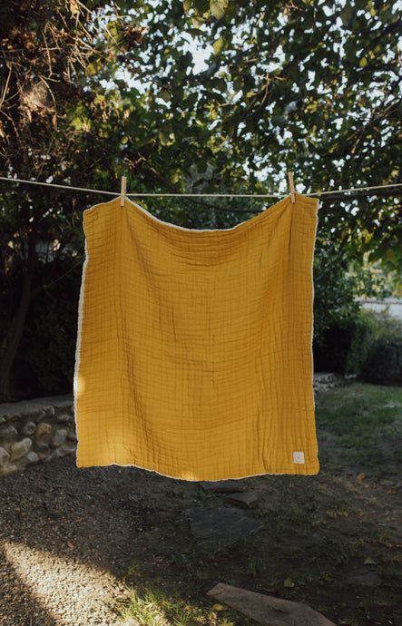Mustard Layered Gauze Blanket