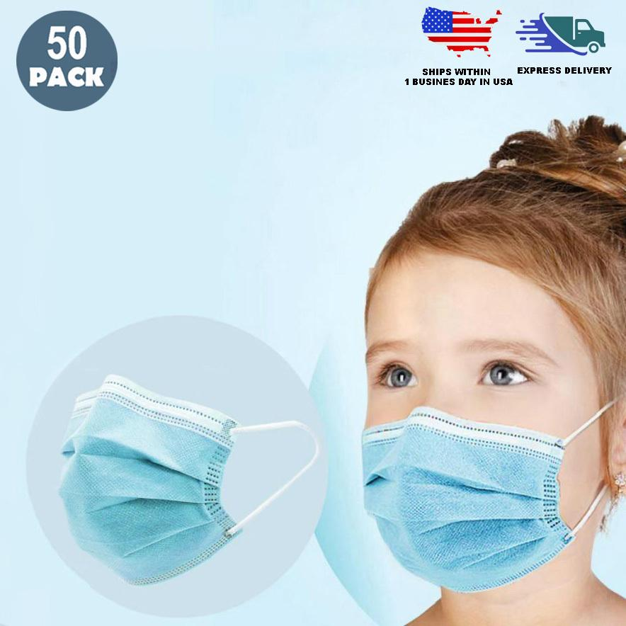 Children's 3 Ply Disposable Face Mask (Box of 50) - Free Shipping