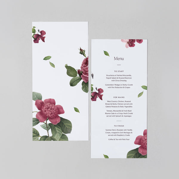 Entwined menu card