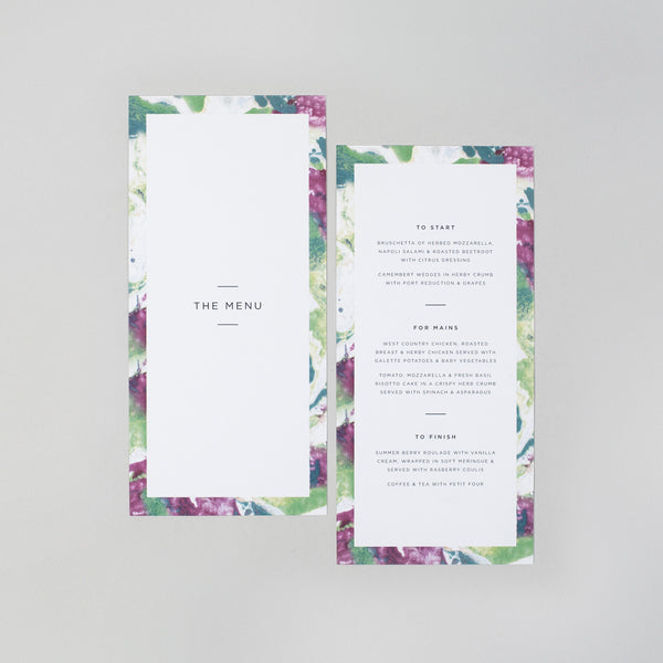 Evelyn menu card