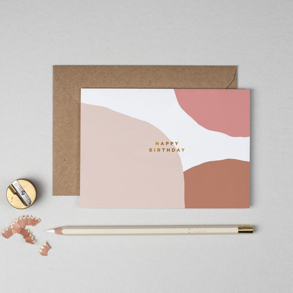 Happy birthday abstract blush pattern card