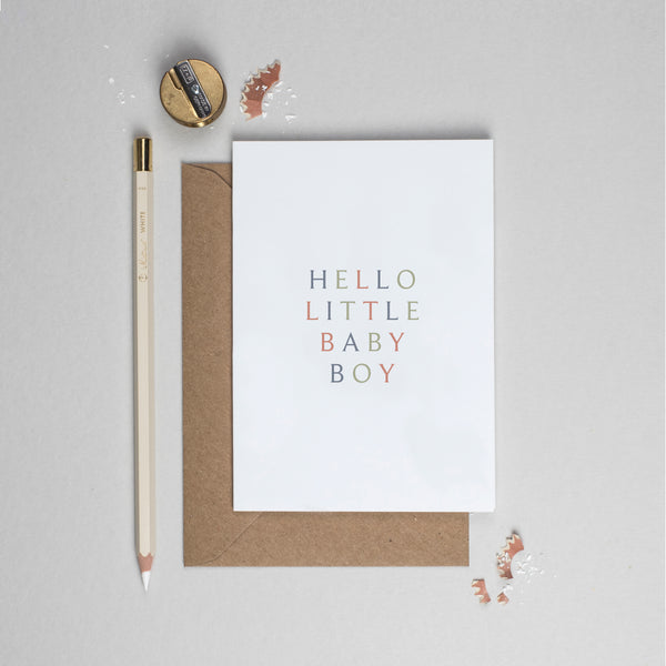 Hello baby boy typographic card