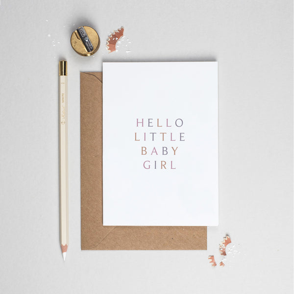 Hello baby girl typographic card