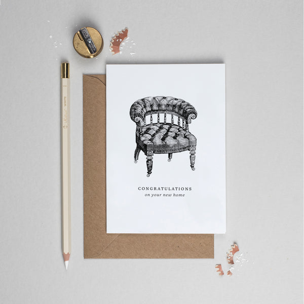 New home vintage chair card