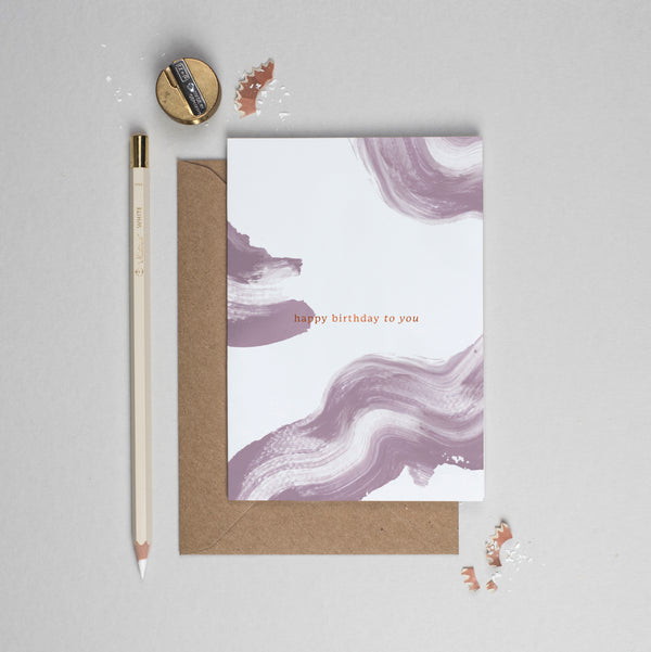 Happy birthday to you copper foil and brush strokes card purple