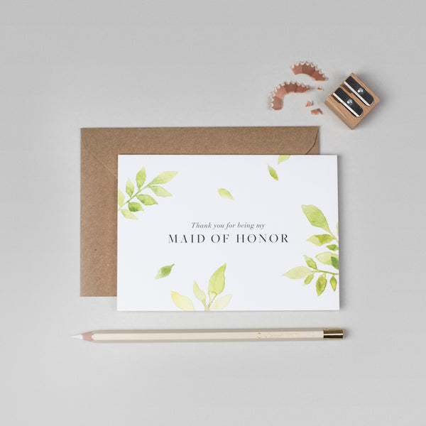 Thank you Maid of Honour botanical card