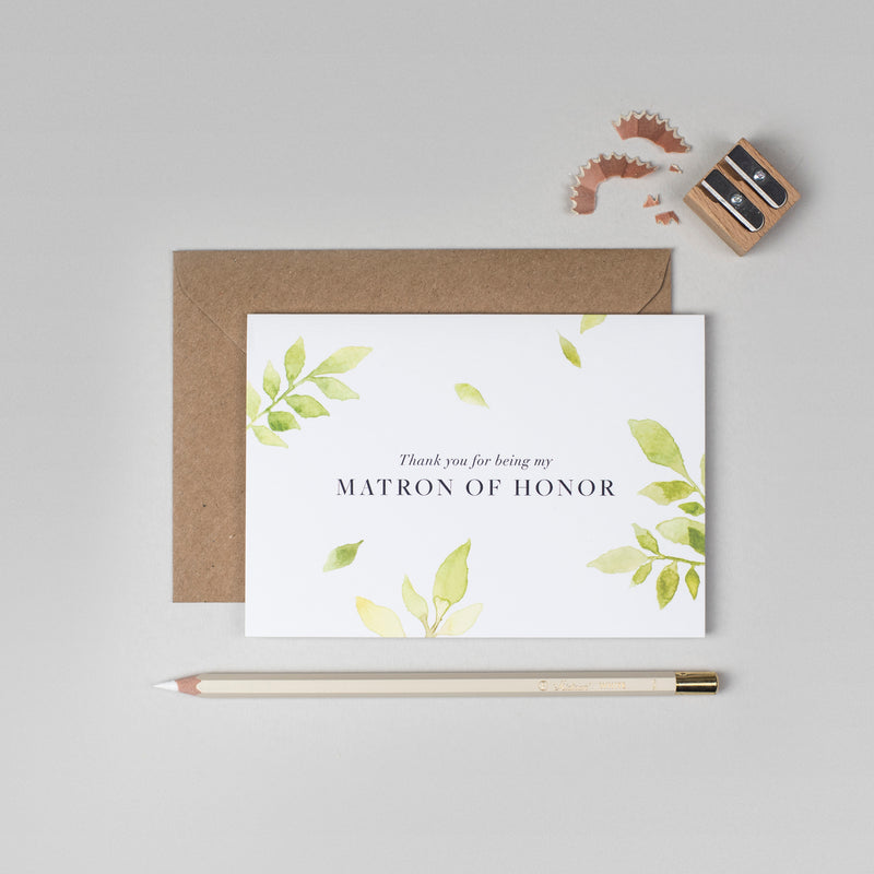 Thank you Matron of Honour botanical card