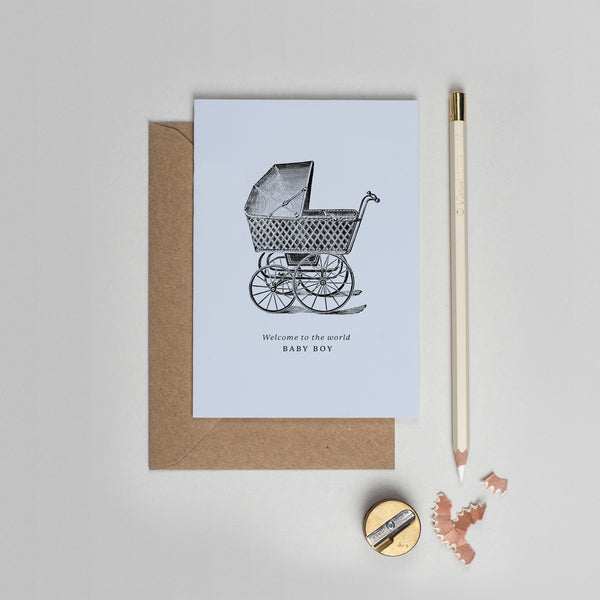 Welcome baby boy vintage pram card