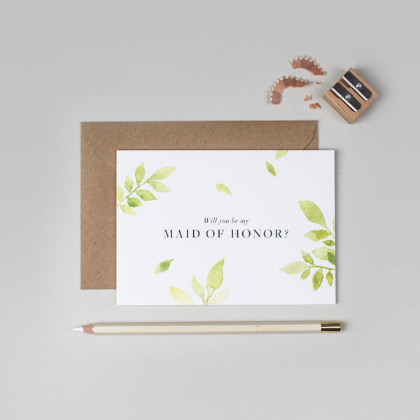 Will you be my Maid of Honour botanical card