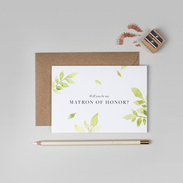 Will you be my Matron of Honour botanical card