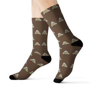 Lil Elfie Little Faces on Brown Sublimation Socks