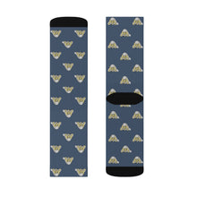 Load image into Gallery viewer, Lil Elfie Little Faces on Blue Sublimation Socks