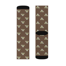 Load image into Gallery viewer, Lil Elfie Little Faces on Brown Sublimation Socks