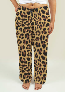 Ladies Pajama Pants with Leopard Print