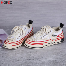 Load image into Gallery viewer, HQFZO Distressed Retro Platform Chunky Sneakers Casual Canvas shoes Lace UP Autumn Shoes Sapatilhas Mulher