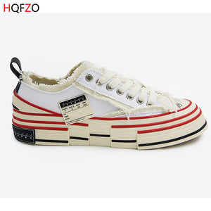HQFZO Distressed Retro Platform Chunky Sneakers Casual Canvas shoes Lace UP Autumn Shoes Sapatilhas Mulher