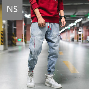 hip hop blue jeans men streetwear harem pants dsq jeans kpop jogger korean style trousers mens fashion denim oversized clothes