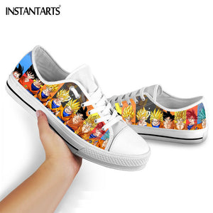 INSTANTARTS Dragon Ball Z Anime Flats Shoes Boys Girls Fashion Lace Up Sneakers 3D Print Son-Goku Vulcanized Shoe Casual Sneaker