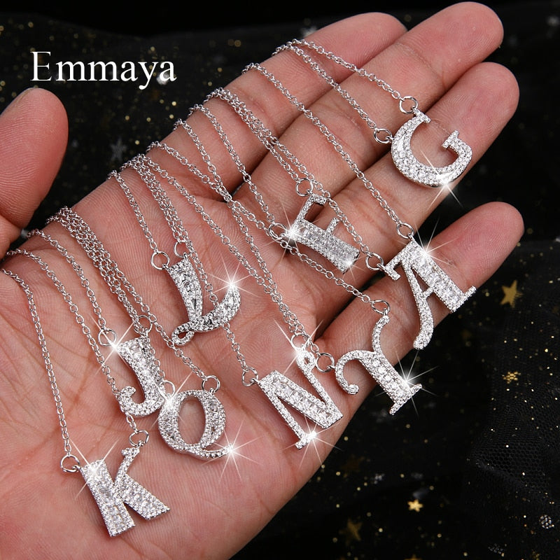 Emmaya Letters Chain Pendants Necklaces Women's Zircon Hip Hop Jewelry With Gold Silver Tennis Chain Party Wedding Gift