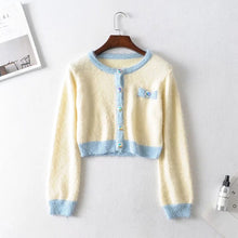 Load image into Gallery viewer, 2019 Autumn Retro Shaggy Contrast color Cardigan Korea Single-breasted Button Knitted Sweater Package Hips Mini Skirt 1 Set