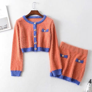 2019 Autumn Retro Shaggy Contrast color Cardigan Korea Single-breasted Button Knitted Sweater Package Hips Mini Skirt 1 Set
