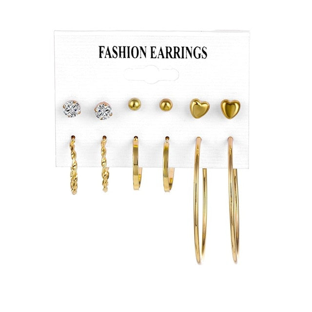 Oversize Gold Color Big Circle Hoop Earrings Set for Women Vintage Steampunk Ear Clip Wedding Party Jewelry Gift 2019 Wholesale