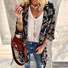 Load image into Gallery viewer, Women Spring Printed Floral Casual Elegant European Style Cardigan Female Beach Long Sleeve Fashion Design Coat Outwear SJ2438U