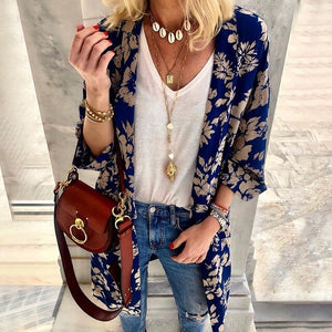 Women Spring Printed Floral Casual Elegant European Style Cardigan Female Beach Long Sleeve Fashion Design Coat Outwear SJ2438U