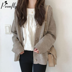 PEONFLY Fashion Knitted Cardigan Women Coat Solid 2020 Spring Fashion V Neck Long Sleeve Korean Style Sweater Coat Tops Ladies