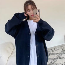 Load image into Gallery viewer, PEONFLY Fashion Knitted Cardigan Women Coat Solid 2020 Spring Fashion V Neck Long Sleeve Korean Style Sweater Coat Tops Ladies