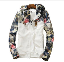 Load image into Gallery viewer, Spring autumn Womens Windbreaker Plus Size 4XL Zipper Hooded Floral Loose Windbreaker Womens Jacket Basic Jacket Coat    201929