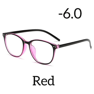 Seemfly Ultralight Anti-blue Light Myopia Glasses Women&Men Round Frame Nearsighted Prescription Glasses Diopter -1.0to-6.0