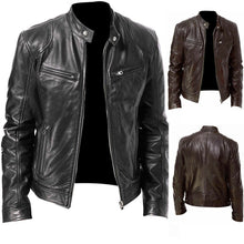 Load image into Gallery viewer, PU Leather Jacket Men Black Brown Winter Autumn Fashion Mens Street Style Stand Collar Motorcycle Bomber Mens Leather Coat