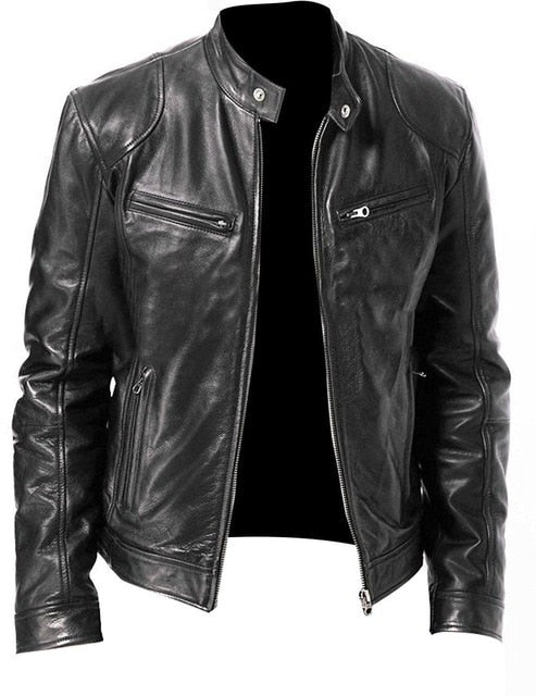 PU Leather Jacket Men Black Brown Winter Autumn Fashion Mens Street Style Stand Collar Motorcycle Bomber Mens Leather Coat