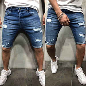 Brand New New Men shorts Jeans Short Pants Destroyed Skinny jeans Ripped Pant Frayed Denim