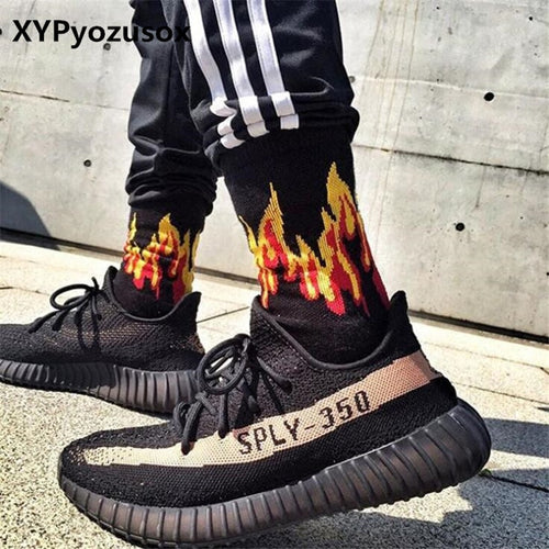 Men Fashion Flame Pattern Hip Hop Funny Man Socks Jacquard Harajuku Fire Socks Street Skateboard Cotton Socks Men Streetwear
