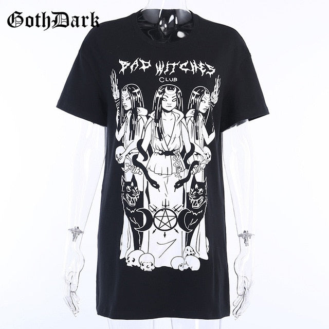 Goth Dark Aesthetic Print Harajuku T-Shirt Summer 2020 Hip Hop Punk Casual Loose O-Neck Female Grunge Tee Chic Streetwear