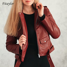 Load image into Gallery viewer, Fitaylor 2020 Spring Autumn Women Faux Soft Leather Jacket Long Sleeve Pink Biker Coat Zipper Design Motorcycle PU Red Jacket