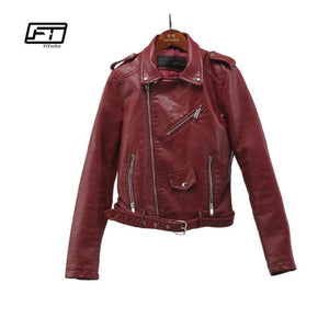 Fitaylor 2020 Spring Autumn Women Faux Soft Leather Jacket Long Sleeve Pink Biker Coat Zipper Design Motorcycle PU Red Jacket