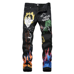 Sokotoo Men's fashion letters flame black printed jeans Slim straight colored painted stretch pants