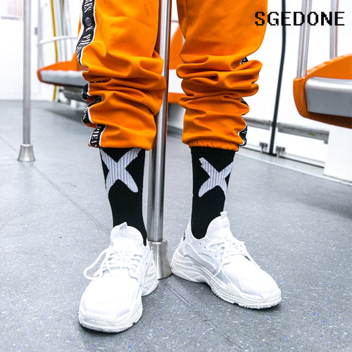 Tide X Black Red Europe And The United States High Street Hip Hop Tide Skateboard Socks Fashion Letter Tube socks For Couple