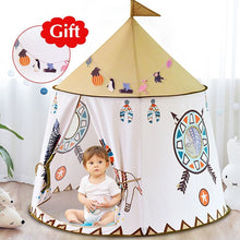 Load image into Gallery viewer, YARD Kid Tent House Portable Princess Castle 123*116cm Present Hang Flag Children Teepee Tent Play Tent Birthday Christmas Gift