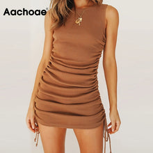 Load image into Gallery viewer, Aachoae Women Solid Mini Dress Summer 2020 O Neck Sleeveless Sexy Bodycon Dress Side Bow Tie Chic Beach Dresses Ropa De Mujer