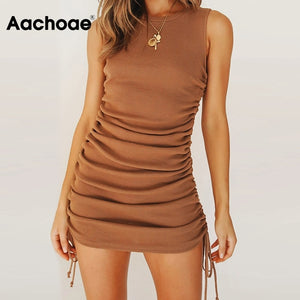 Aachoae Women Solid Mini Dress Summer 2020 O Neck Sleeveless Sexy Bodycon Dress Side Bow Tie Chic Beach Dresses Ropa De Mujer