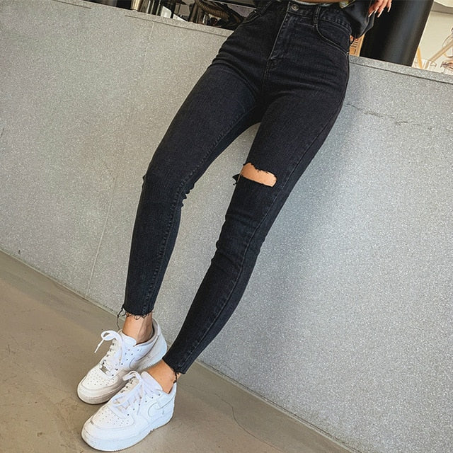 Mozuleva 2019  Sexy High Waist Tassel Ripped Holes Denim Pants Female Trousers Pencil Jeans Women Skinny Pants Black Jeans
